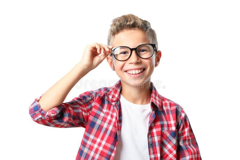 Chłopiec w szkłach i koszula odizolowywających obraz royalty free