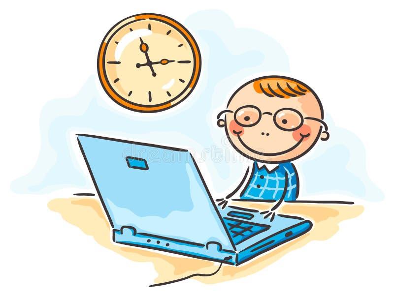 Chłopiec w szkłach przy komputerem ilustracji