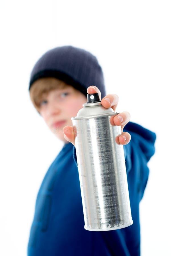 Chłopiec z aerosol puszką fotografia royalty free