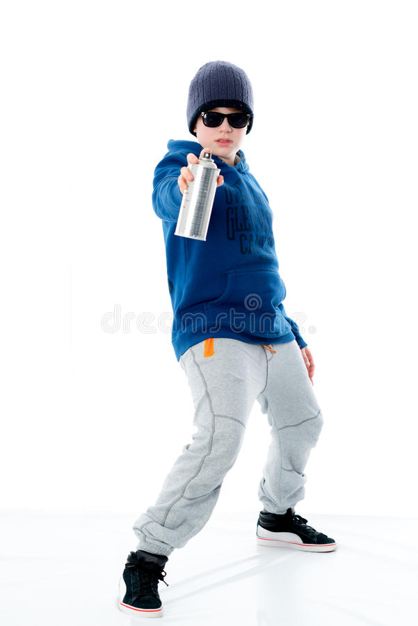 Chłopiec z aerosol puszką zdjęcie stock