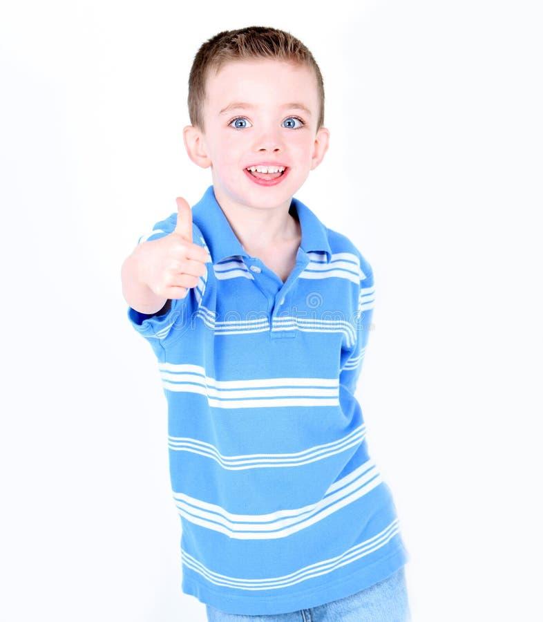 Chłopiec z aprobatami obraz stock