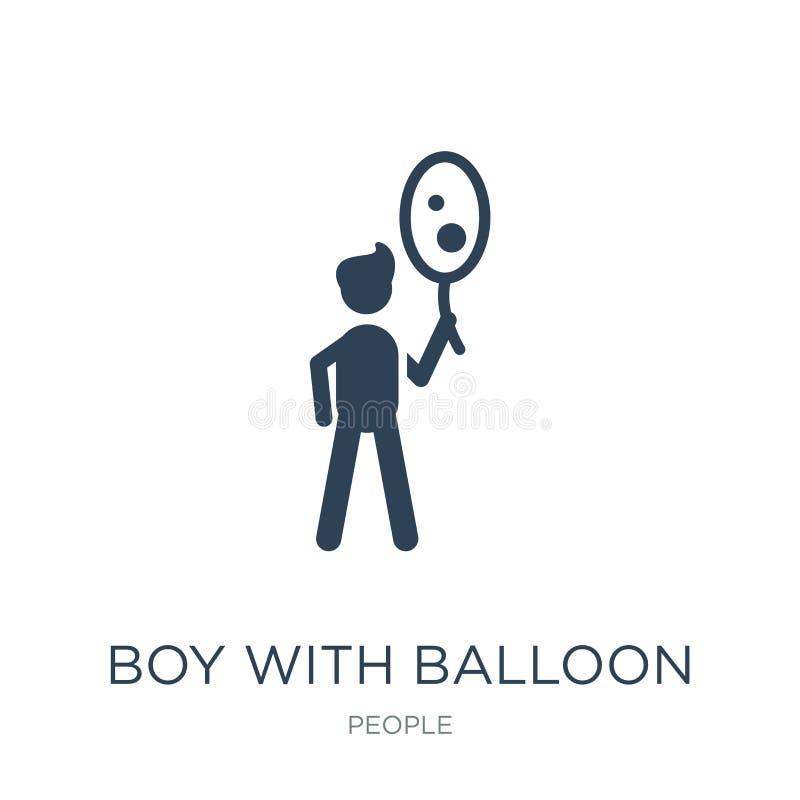 chłopiec z balonową ikoną w modnym projekta stylu chłopiec z balonową ikoną odizolowywającą na białym tle chłopiec z balonową wek ilustracji