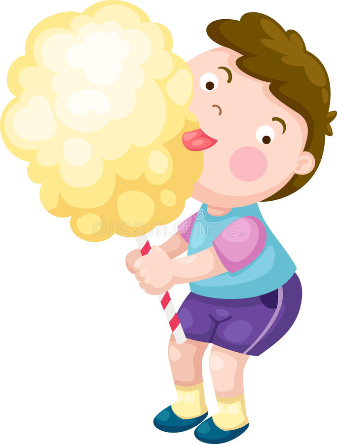 Chłopiec z cukierku floss wektorem ilustracja wektor