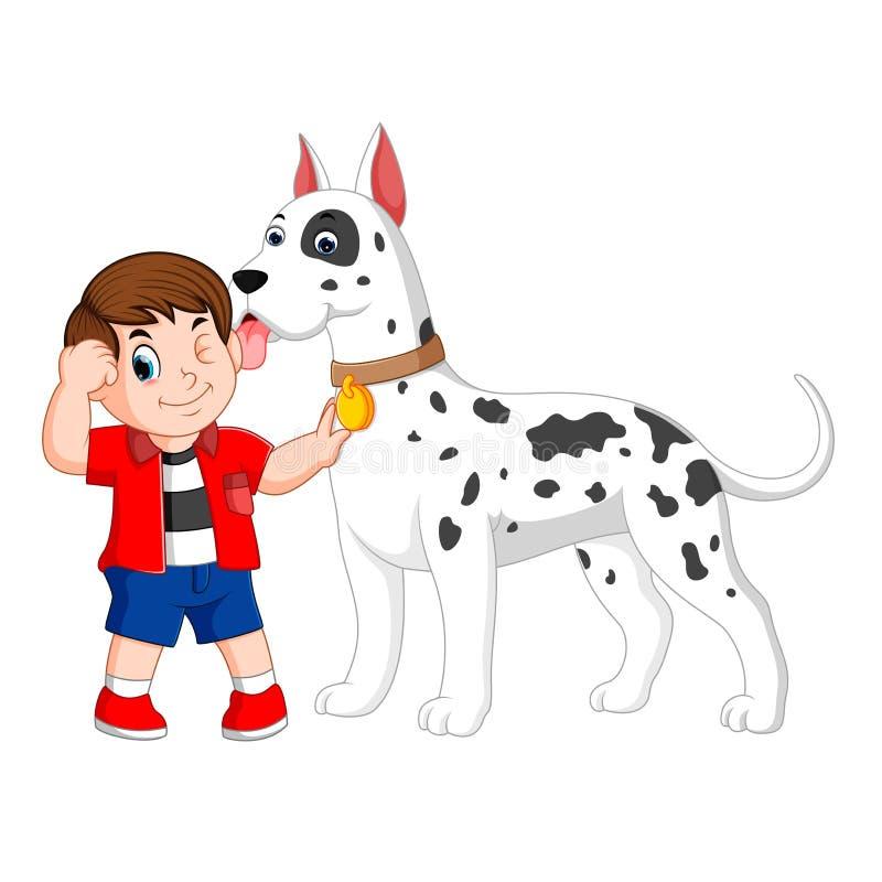 Chłopiec z czerwoną koszula trzyma jego dużego białego dalmatian psa royalty ilustracja