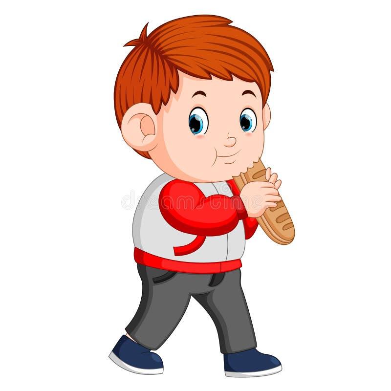Chłopiec z dużym bochenkiem chleb royalty ilustracja