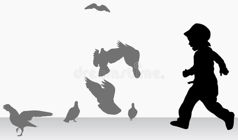 Chłopiec z gołębiami royalty ilustracja