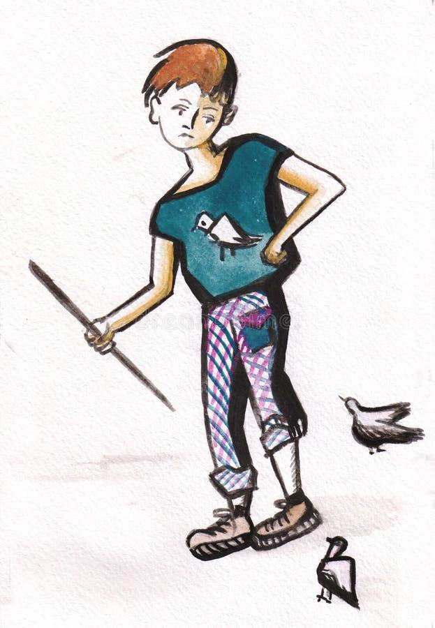 Gołębie i chłopiec ilustracja wektor