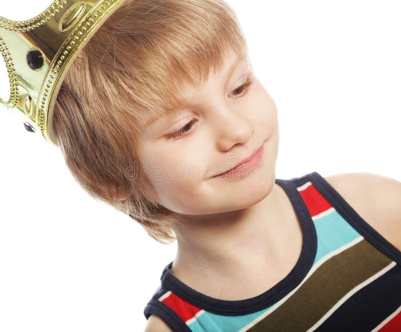 Chłopiec z koroną zdjęcia stock