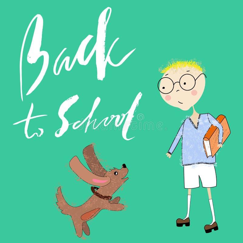 Chłopiec z książką bawić się z szczeniakiem Handdrawn inspiracja tylna szkoły royalty ilustracja