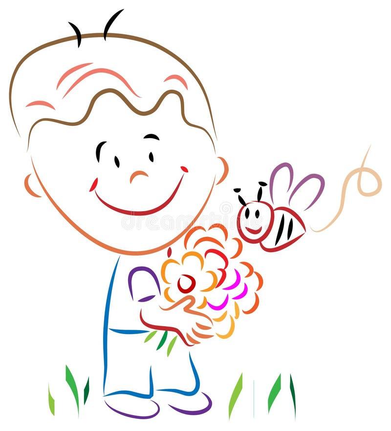Chłopiec z kwiatami i miodową pszczołą royalty ilustracja