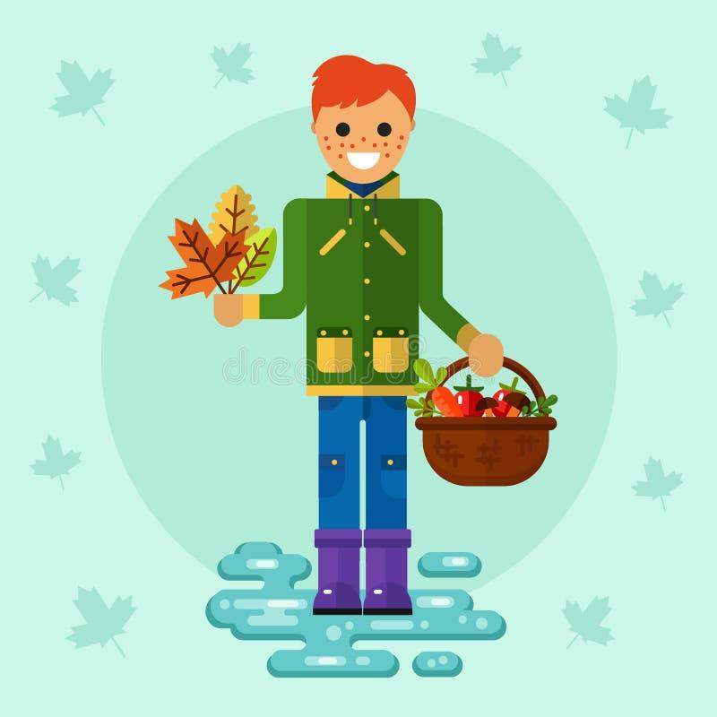 Chłopiec z liśćmi i koszem ilustracja wektor