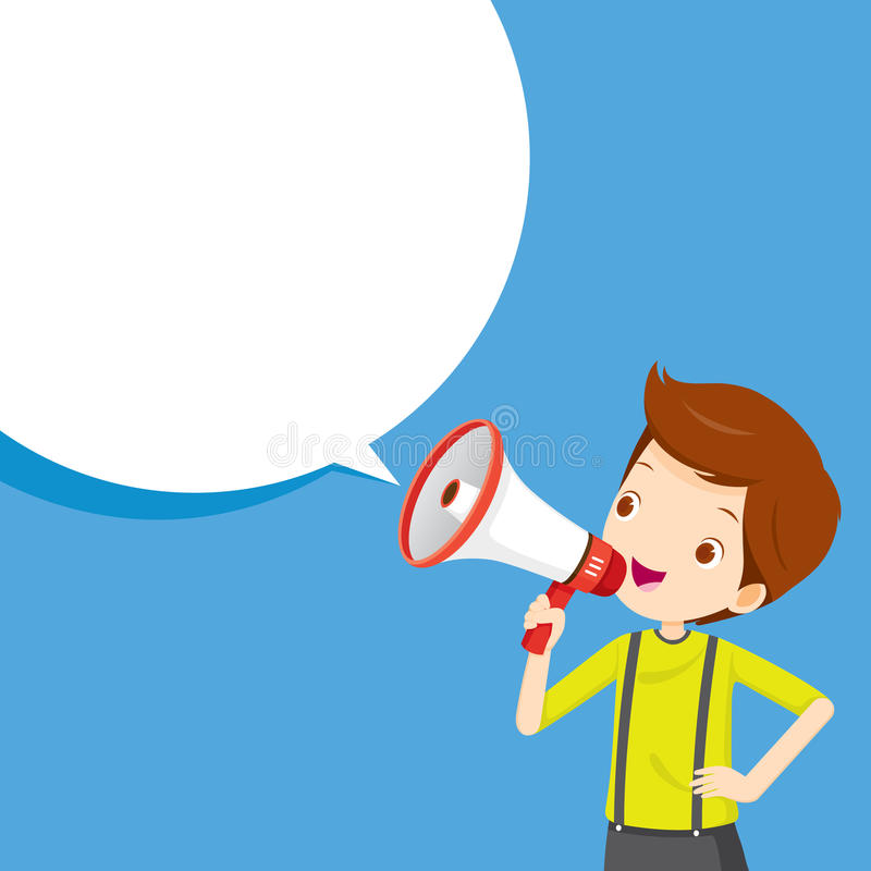 Chłopiec Z megafonu zawiadomieniem I mowa bąblem ilustracji