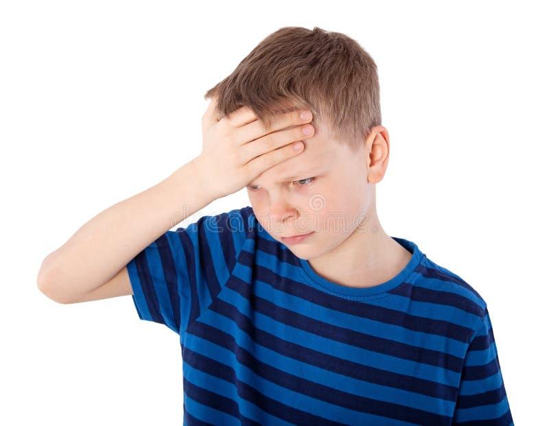Chłopiec z migreną fotografia stock