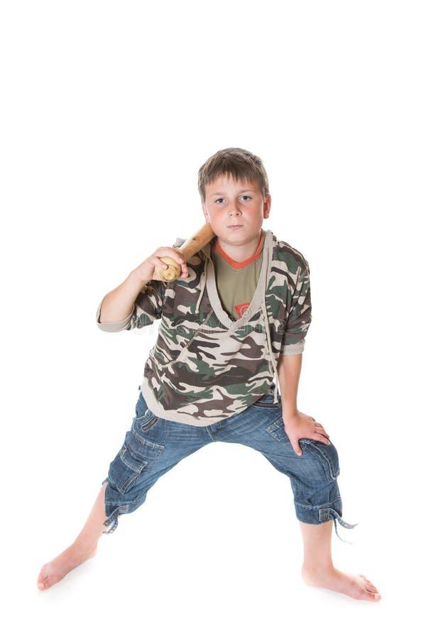 Chłopiec z nietoperzem obrazy stock