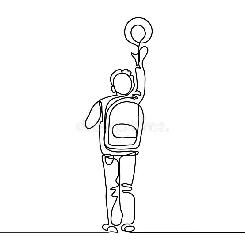Chłopiec z piłką iść z powrotem szkoła z torbą ilustracja wektor