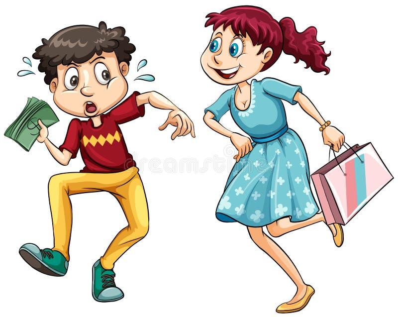 Chłopiec z pieniądze i dziewczyną z torba na zakupy ilustracji