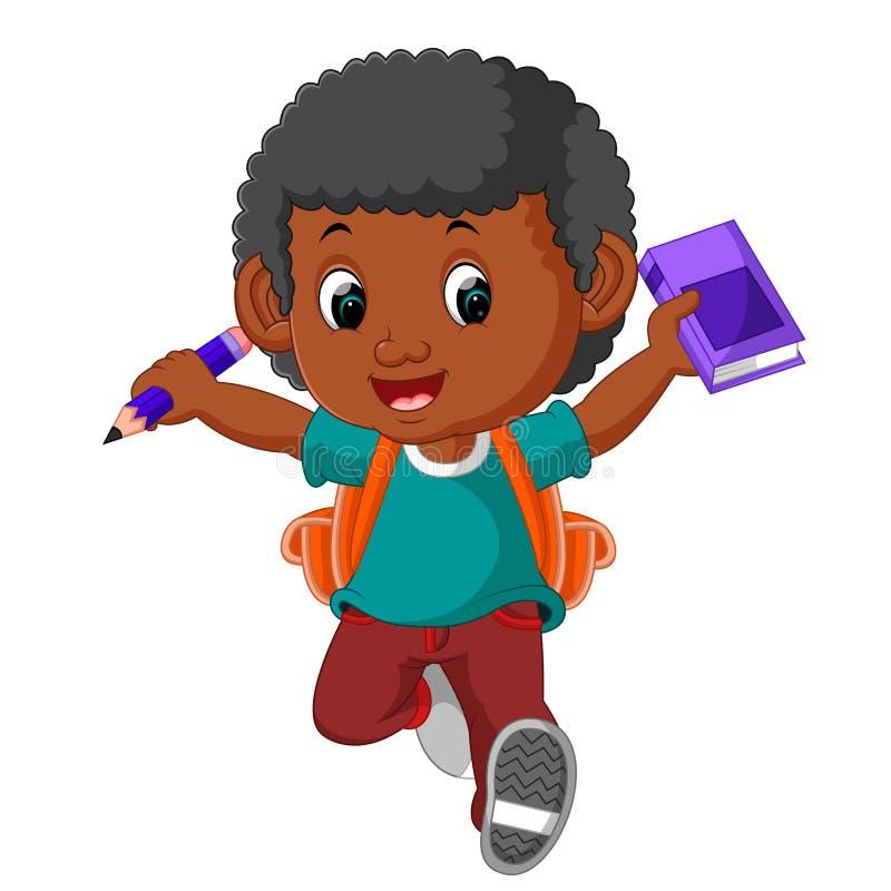 Chłopiec z plecak kreskówką royalty ilustracja