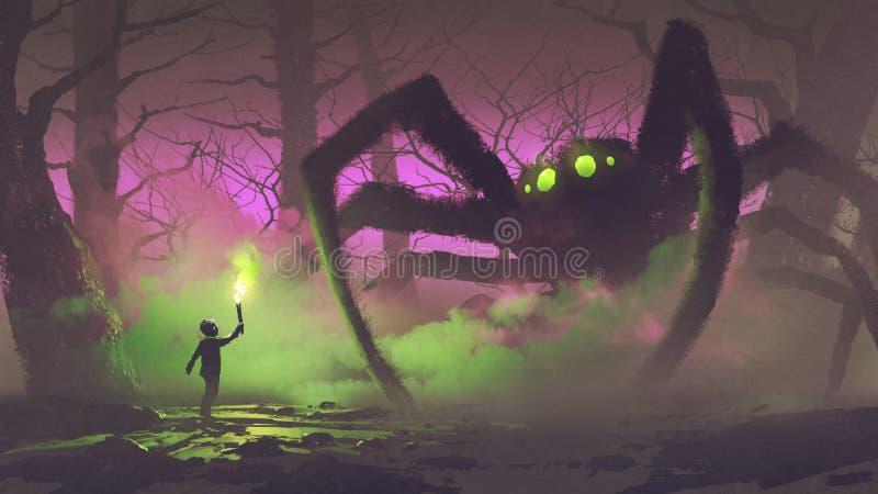 Chłopiec z pochodnia okładzinowym gigantycznym pająkiem royalty ilustracja