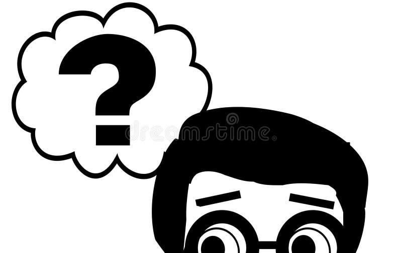 Chłopiec z pytaniami ilustracja wektor