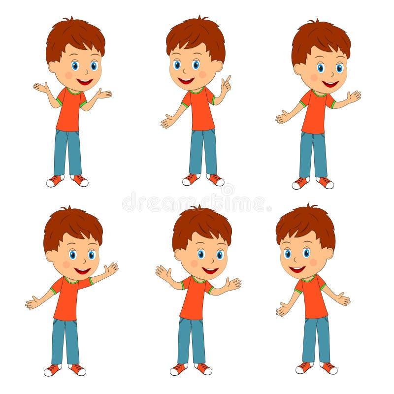 Chłopiec z różną ręki pozycją royalty ilustracja