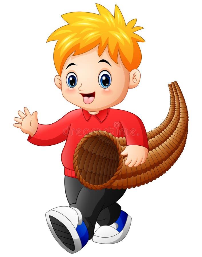 Chłopiec z rogiem obfitość ilustracji