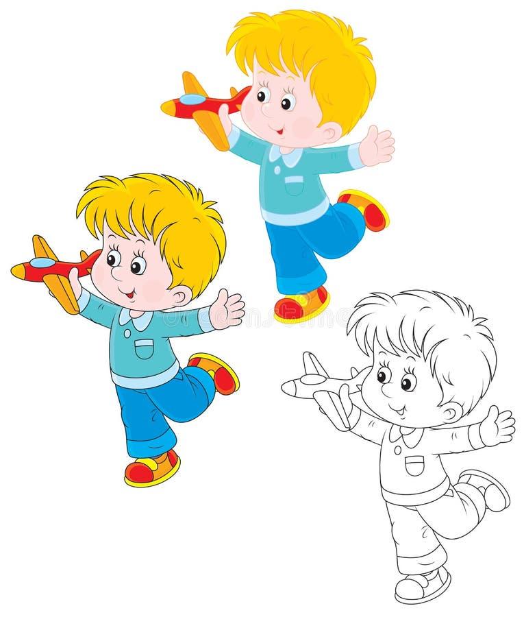 Chłopiec z samolotem ilustracja wektor