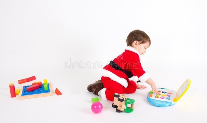 Chłopiec z Santa kostiumem zdjęcie stock