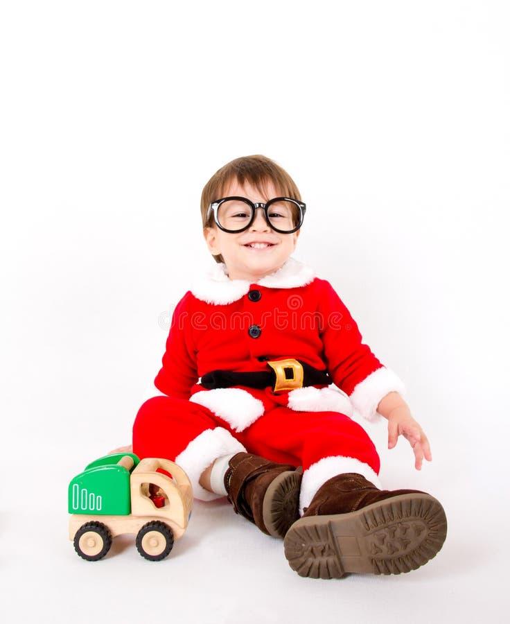 Chłopiec z Santa kostiumem fotografia stock