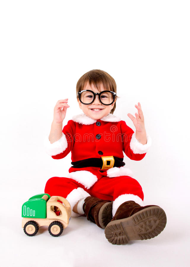 Chłopiec z Santa kostiumem obraz stock