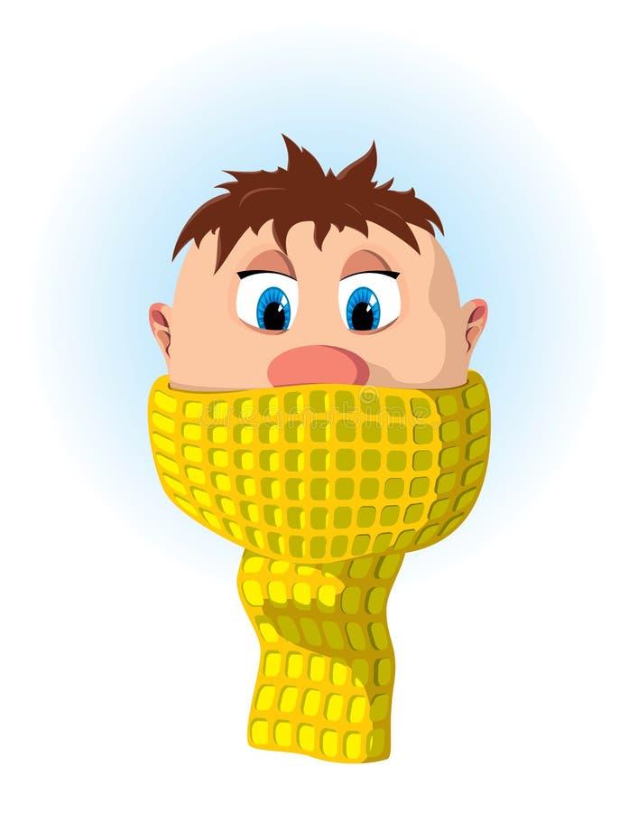 Chłopiec z szalikiem ilustracja wektor