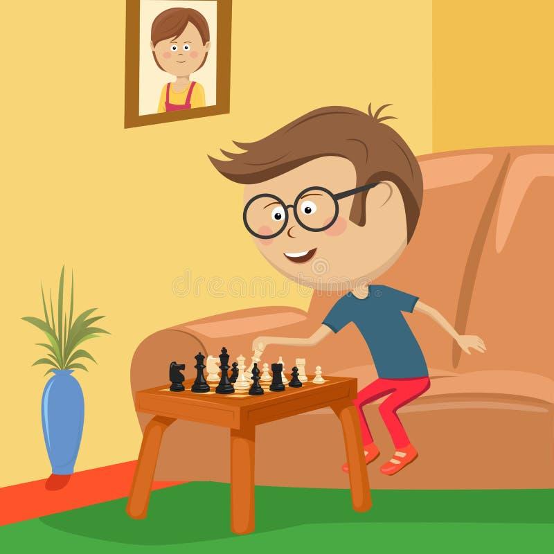 Chłopiec z szkłami bawić się szachowego obsiadanie na kanapie w pokoju royalty ilustracja