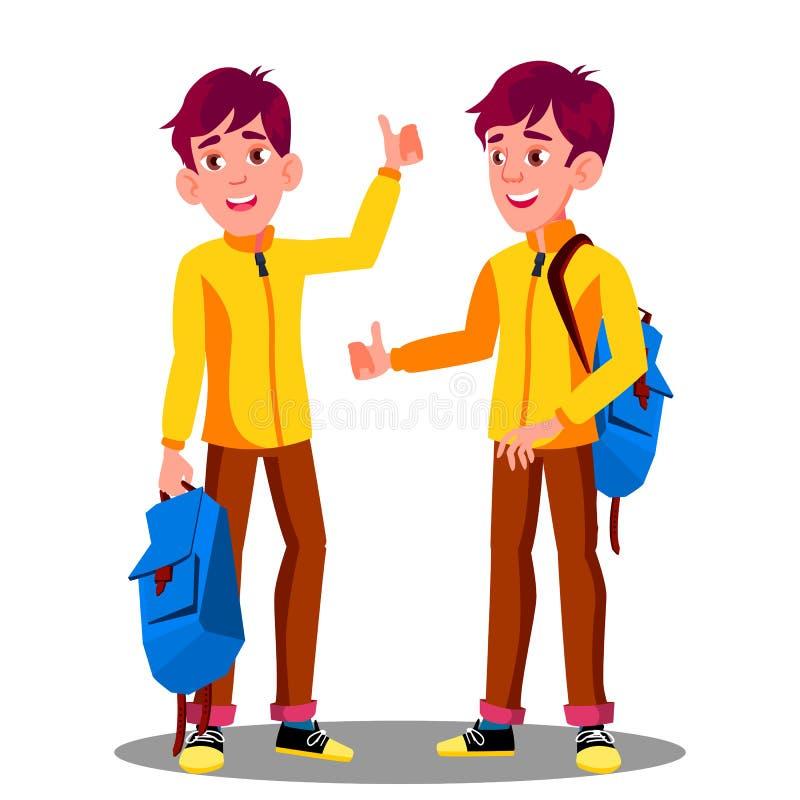 Chłopiec Z Szkolnej torby mienia kciukiem W górę wektoru button ręce s push odizolowana początku ilustracyjna kobieta ilustracja wektor