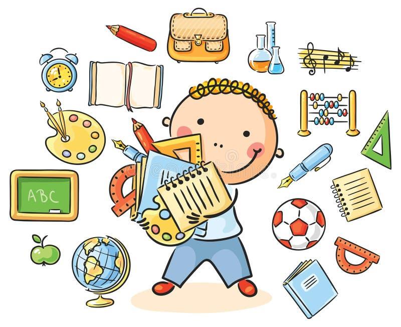 Chłopiec z Szkolnymi rzeczami ilustracja wektor