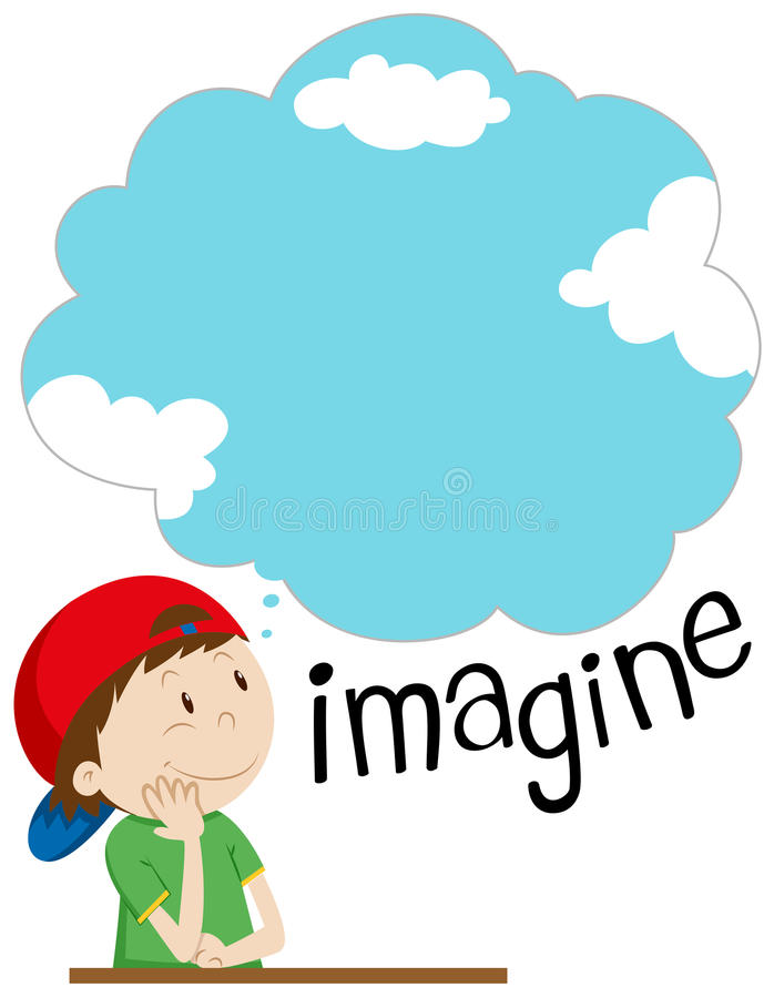 Chłopiec z wyobraźnia bąblem ilustracja wektor