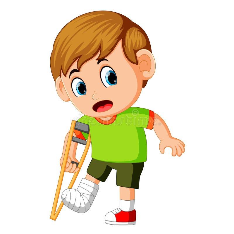Chłopiec z złamaną nogą ilustracja wektor