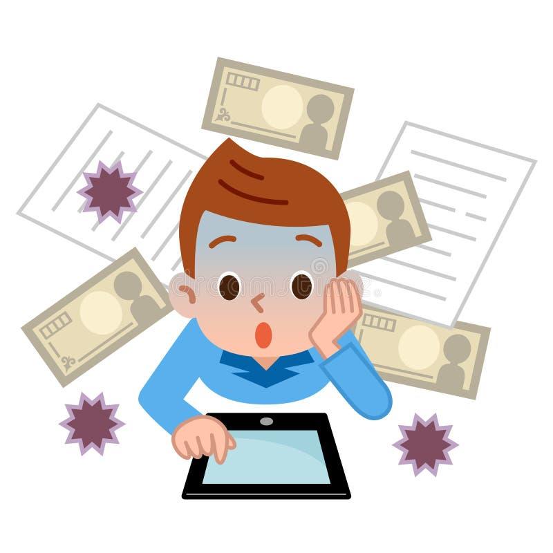 Chłopiec zaskakująca komputerowi wirusy ilustracji