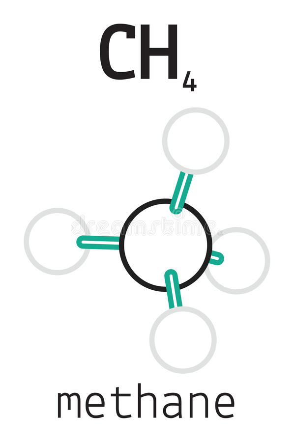 CH4甲烷分子 库存例证