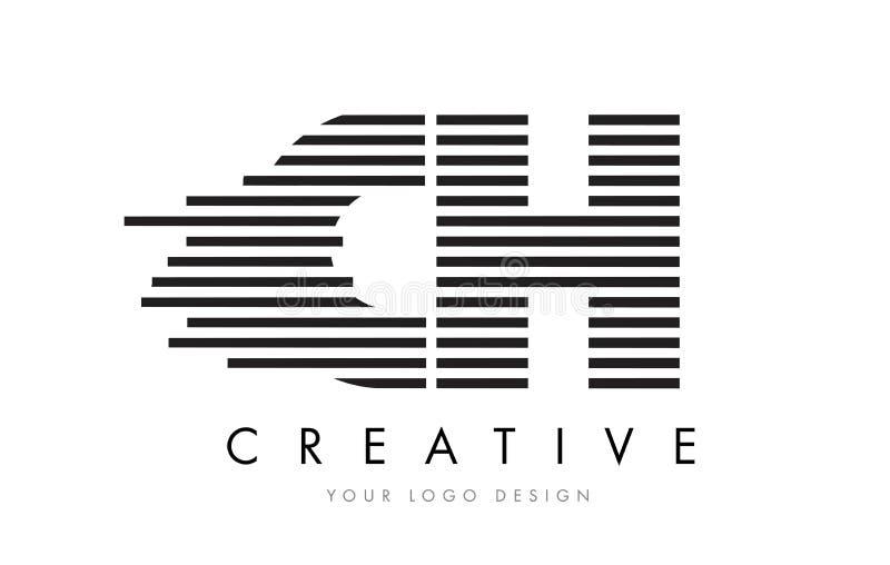 CH C H Zebra Letter Logo Design with Black and White Stripes royalty free illustration