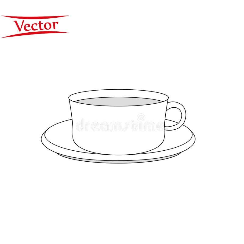 Ch? da x?cara de caf? com linha fina ?cone do vapor do esbo?o ilustração stock