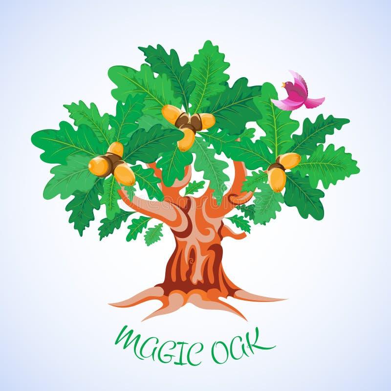 Ch?ne vert Un arbre de bande dessinée avec le feuillage luxuriant Branches incurvées, racines, glands, oiseau coloré illustration de vecteur