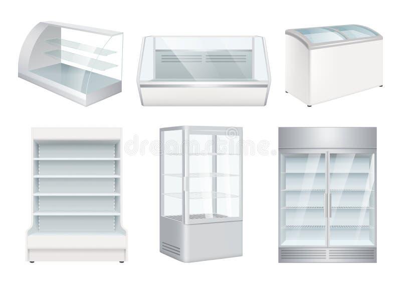 Ch?odziarka pusta Supermarketa detalicznego wyposażenia wektorowe realistyczne chłodziarki dla sklepu royalty ilustracja