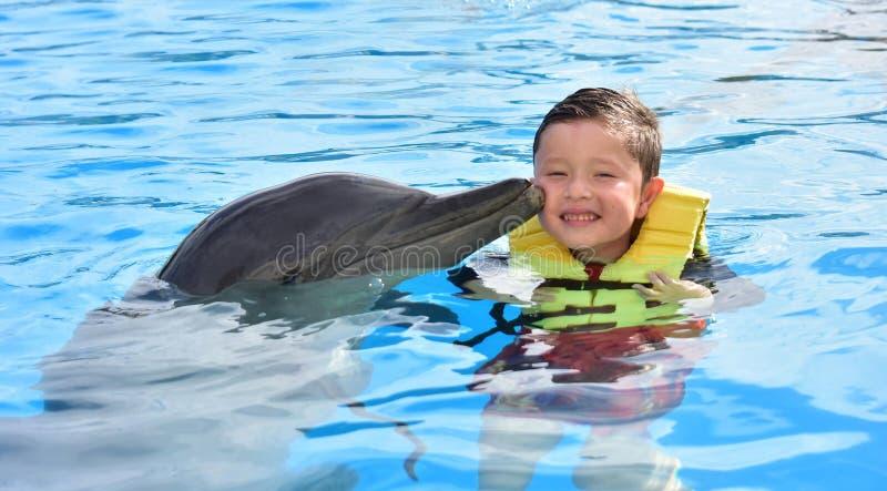 Ch?opiec ca?owania delfin w basenie zdjęcia stock