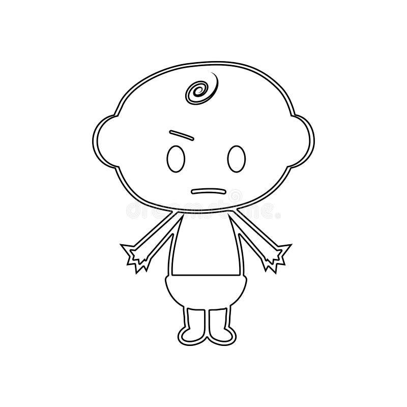 Ch?opiec gniewna ikona Element dziecko dla mobilnego poj?cia i sieci apps ikony Kontur, cienka kreskowa ikona dla strona internet ilustracja wektor
