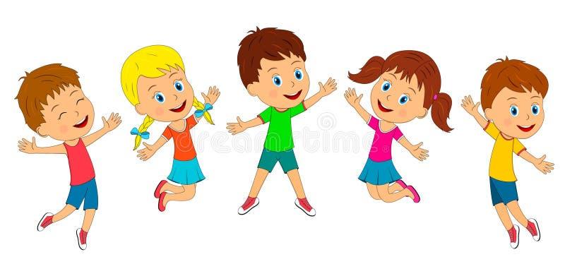 Ch?opiec i dziewczyny skacz? ilustracji