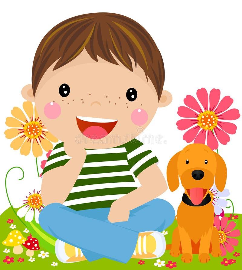 Download Chłopiec i szczeniak ilustracja wektor. Ilustracja złożonej z przyjaźń - 57662676