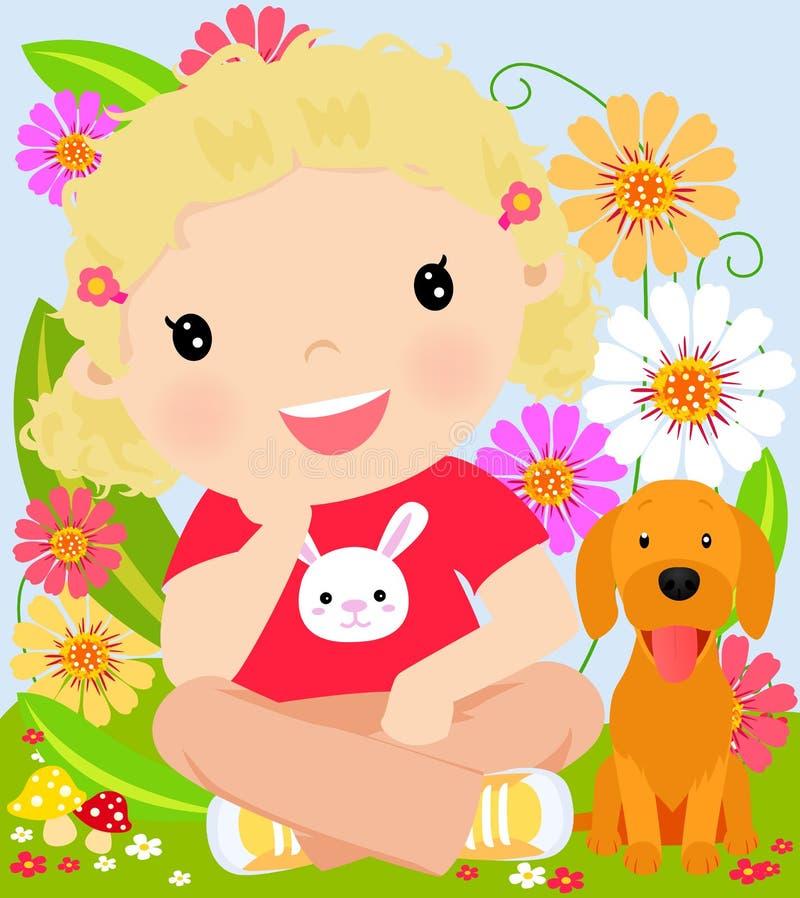 Download Chłopiec i szczeniak ilustracja wektor. Ilustracja złożonej z dziecko - 57662779