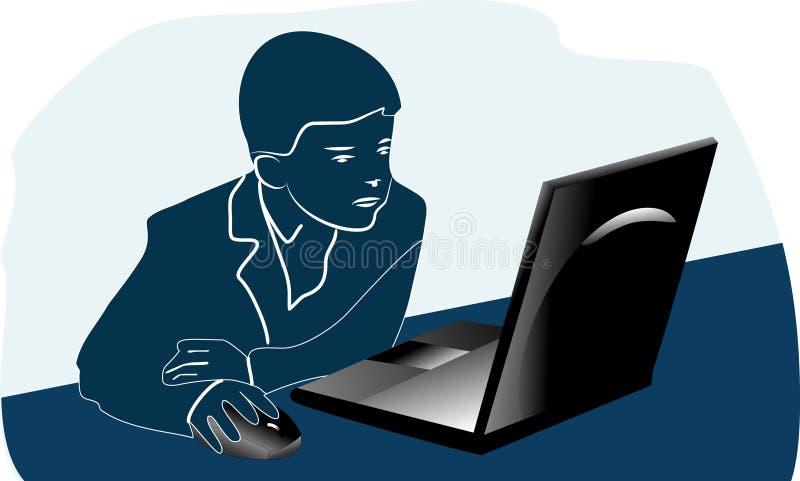 Download Chłopiec laptop ilustracja wektor. Ilustracja złożonej z osoba - 13326929