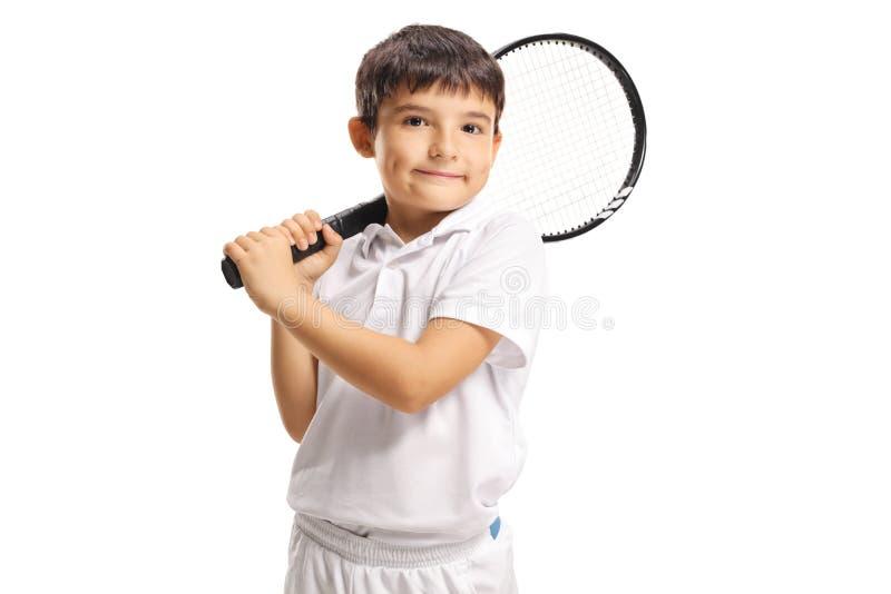 Ch?opiec trzyma tenisowego kant obrazy stock