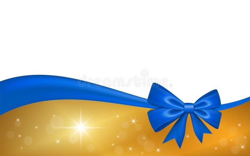 Ch?que-cadeau d'or avec l'arc de ruban bleu, d'isolement sur le fond blanc La d?coration tient le premier r?le la conception pour illustration libre de droits