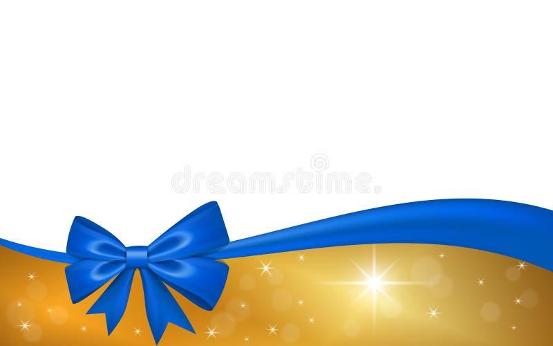 Ch?que-cadeau d'or avec l'arc de ruban bleu, d'isolement sur le fond blanc La d?coration tient le premier r?le la conception pour illustration stock